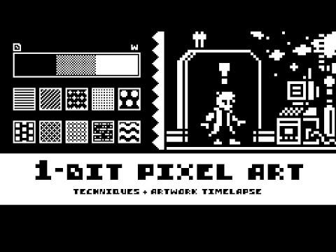 1-Bit Pixel Art Techniques (Tutorial + Timelapse)