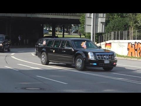 VIP-Eskorte US-Präsident Donald Trump am 06.07.17 beim G20-Gipfel in Hamburg