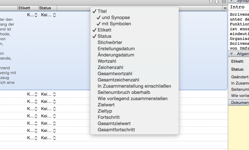Scrivener Outline View