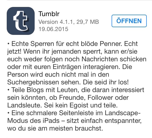 Tumblr changelog