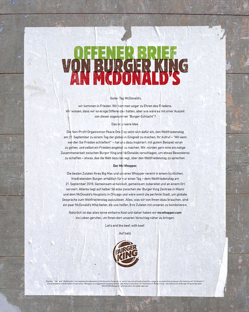 Offener Brief an McDonald's