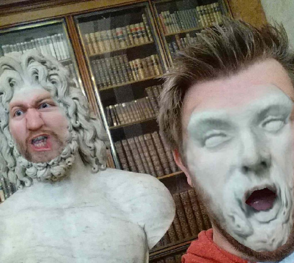 face swap with statues