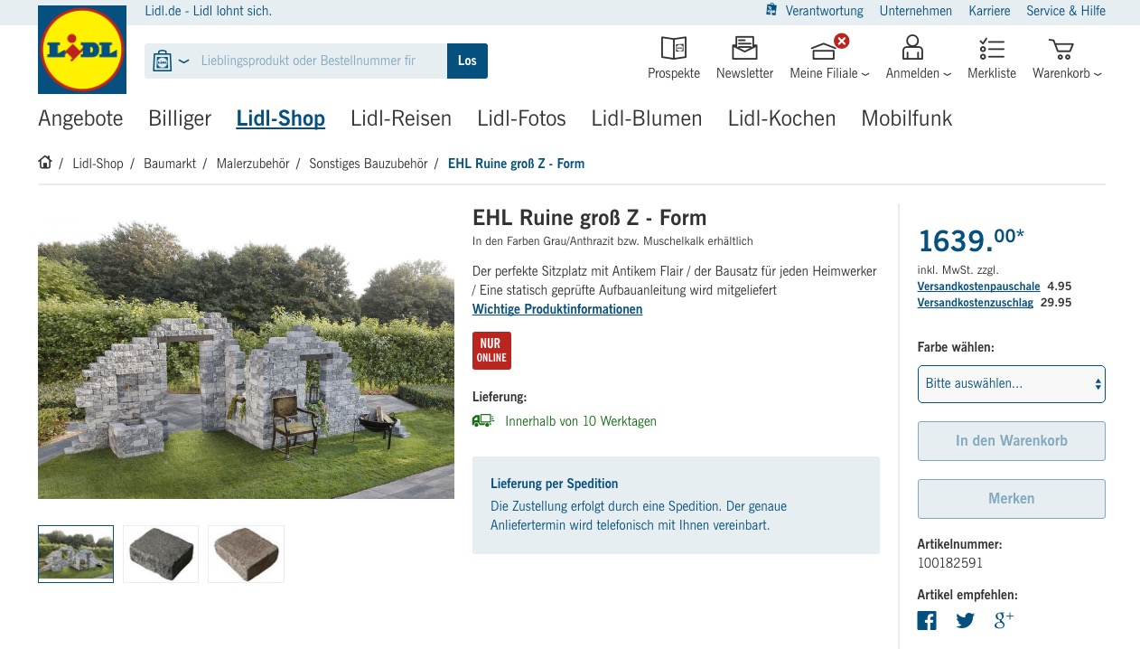 bauruinen fake f r den garten jetzt bei lidl. Black Bedroom Furniture Sets. Home Design Ideas