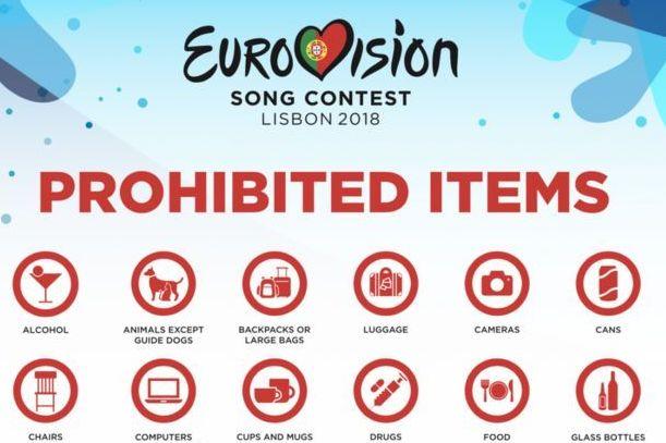 Verbotene Gegenstände auf dem EUROVISION Song Contest 2018