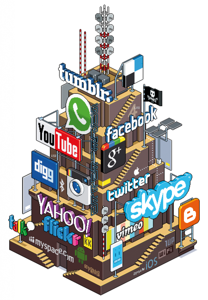 8-Bit Tower of Social Media Plattfoms