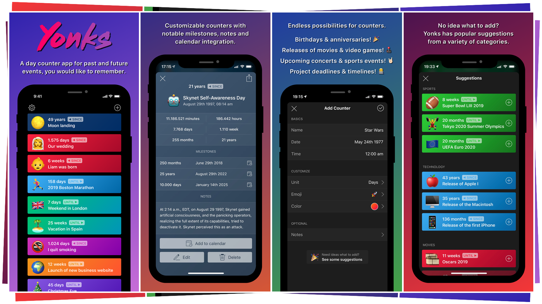 Yonks - Day Counter: Eine App die zählt was war und kommt