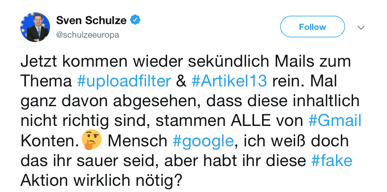 CDU Europapolitker Sven Schulze ist Eure Kritik zu 'Artikel 13' so egal wie ein Poo-Emoji ?