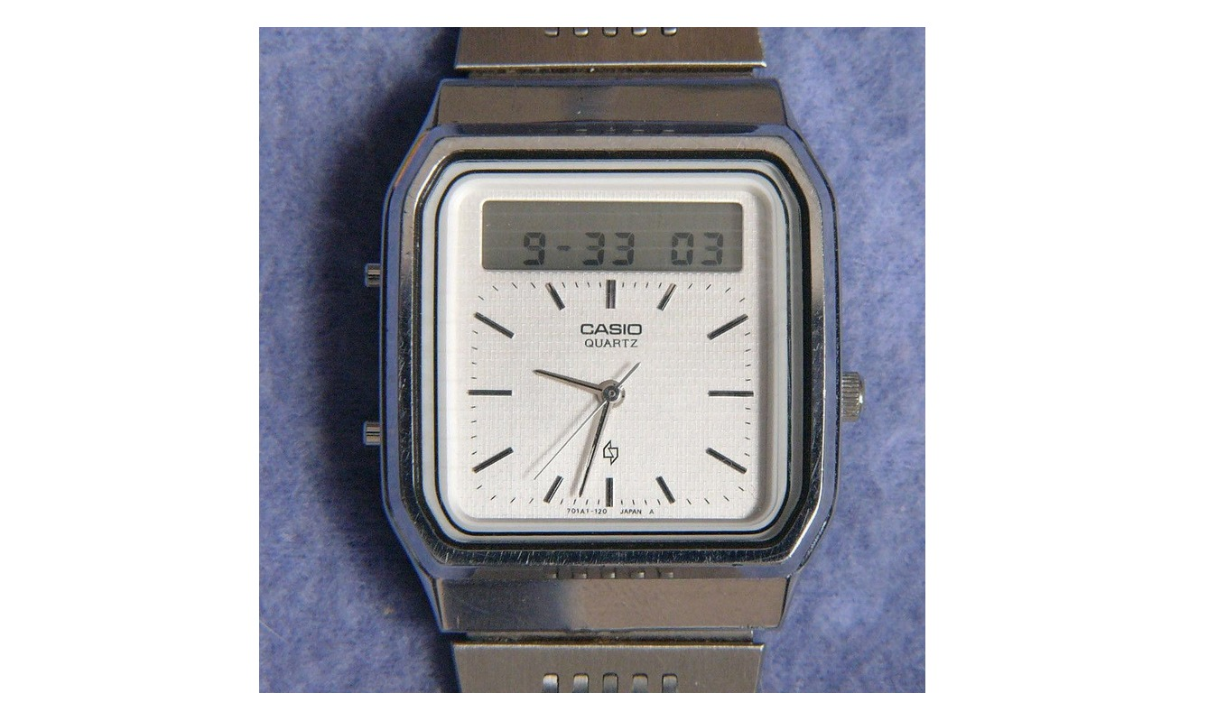 Gesture controlled touchscreen calculator watch from 1984