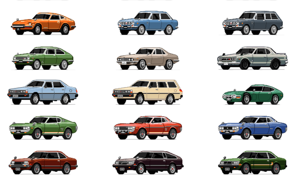 Rotating Retro Pixel Cars