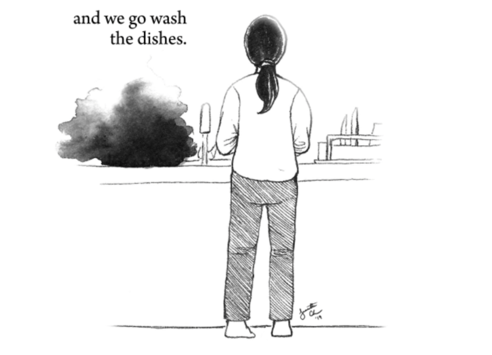 Then we stand and we go wash the dishes.